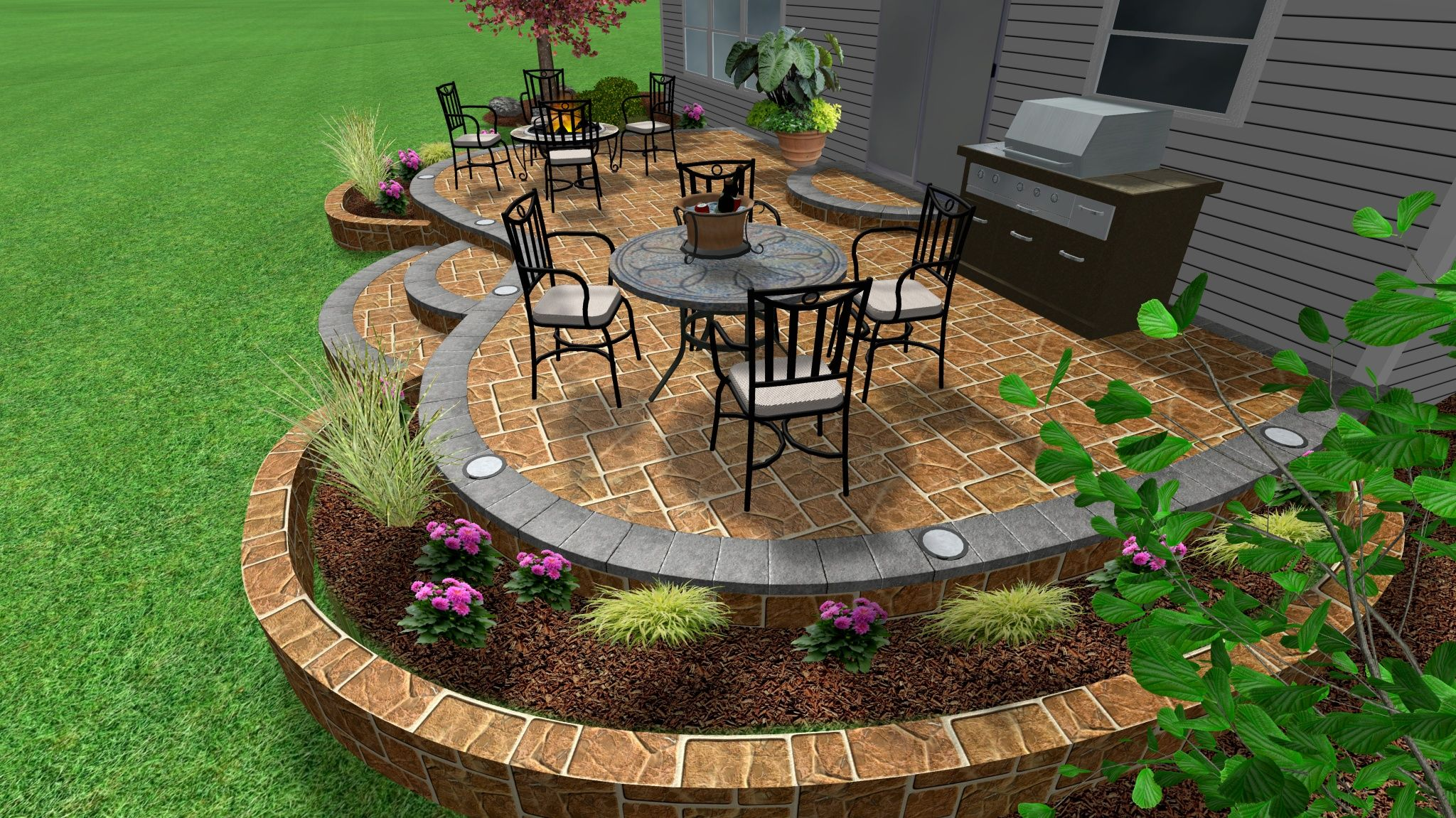 Raised Stamped Concrete Patio and Garden wall. | Outdoor ... on Raised Concrete Patio Ideas id=47298