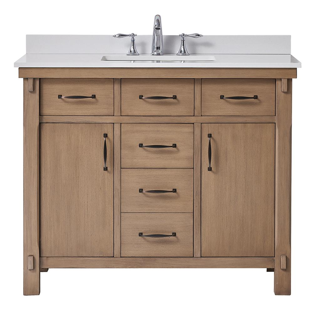 Home Decorators Collection Bellington 42 In W X 22 In D Vanity In Almond Toffee With Marble Vanity Top In White With White Sink Bellington 42 Marble Vanity Tops Bathroom Vanity Tops