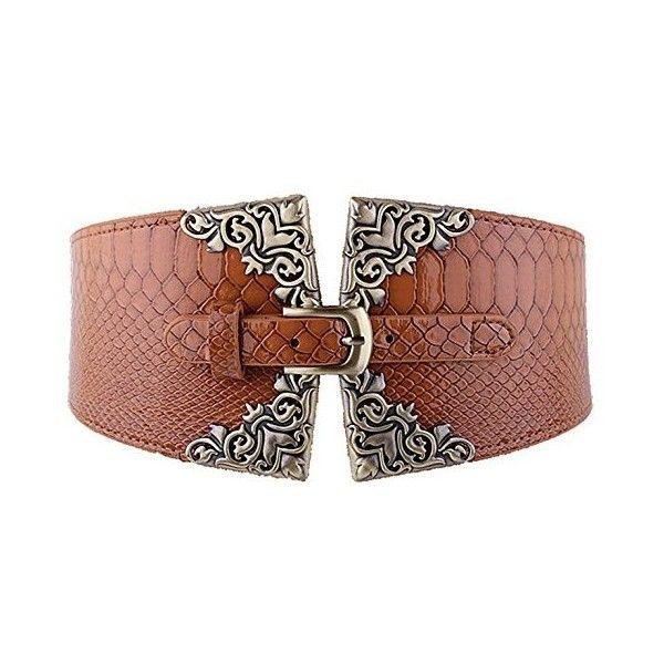 Crocodile Pattern Ring Buckle Wide Elastic Corset Waist Belt