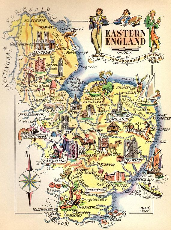1949 Vintage Eastern England Picture Map Lincoln Ipswich Maps of