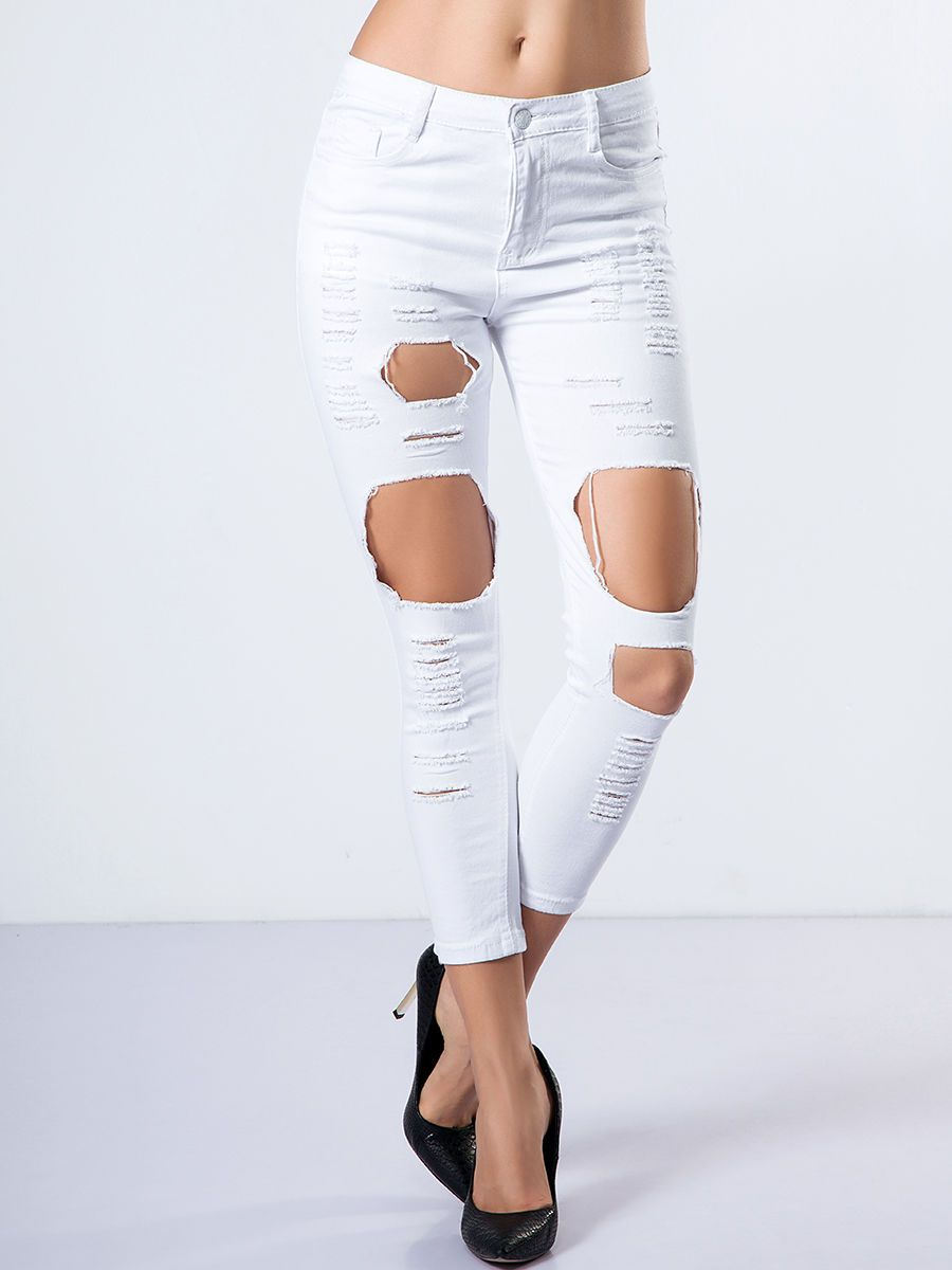 Broken Holes Plain Slim-leg Low-rise Waist Jean Only $19.95 USD More info