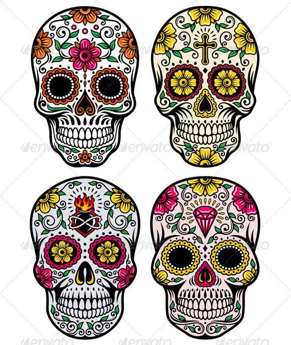 Day Of The Dead Skull Vector Set Sugar Skull Tattoos Skull Skull Art