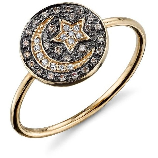 e1ff470fc Yellow-Gold Diamond Moon and Star Medallion Ring ($805) ❤ liked on Polyvore  featuring jewelry, rings, gold diamond rings, 14 karat gold diamond ring,  ...