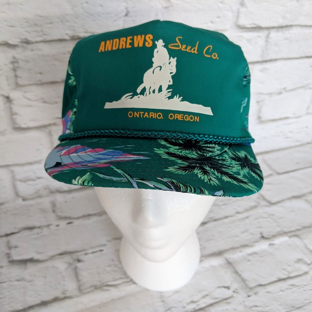 Vintage Andrews seed Co nissan Hawaiian hat cap Palm Trees Aloha NOS