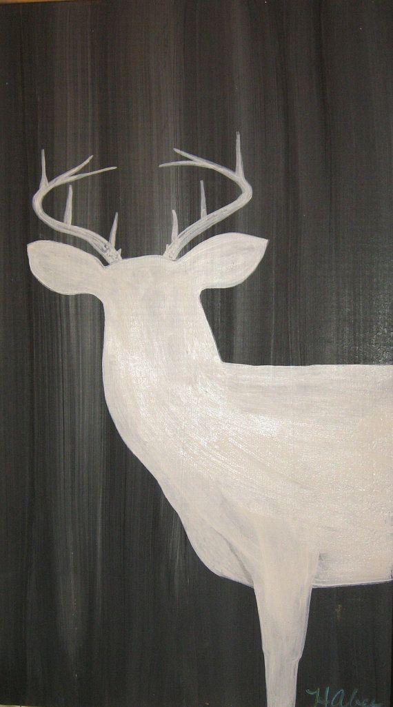Deer Painting on Wood Barn Wood Painting Rustic Art Man Cave Deer Antlers Wildlife Animals Cabin Dec