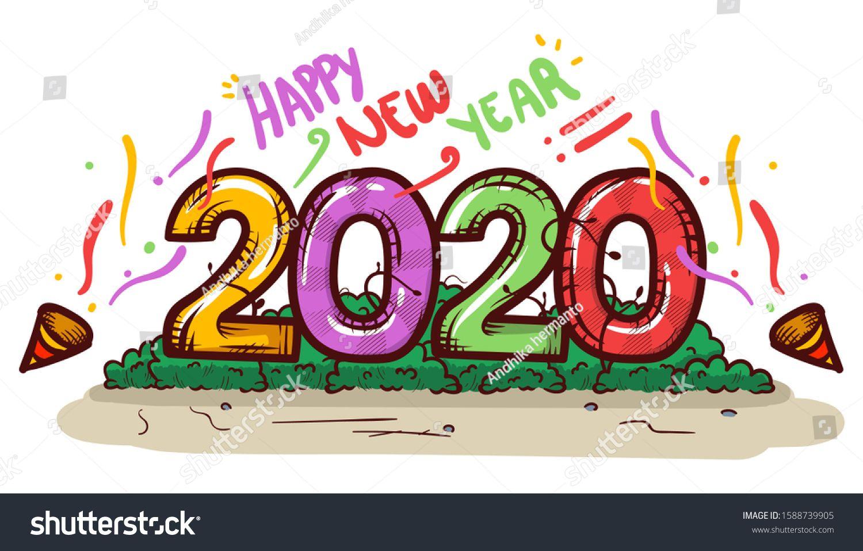 Happy New Year 2020 Illustration Cartoon Comics Vector Background 2020 Hand Drawn Style Happy New Year 2020 Happy New New Year 2020