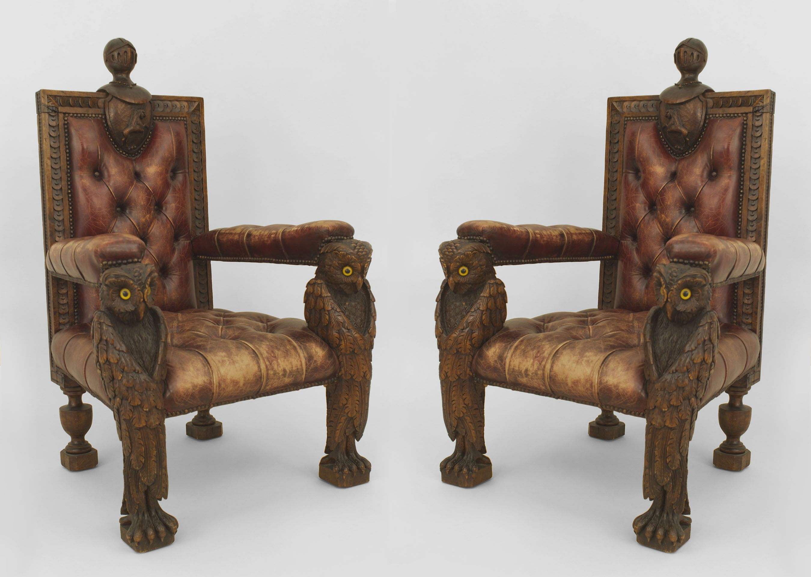 2 rustic continental style 19th cent walnut carved arm