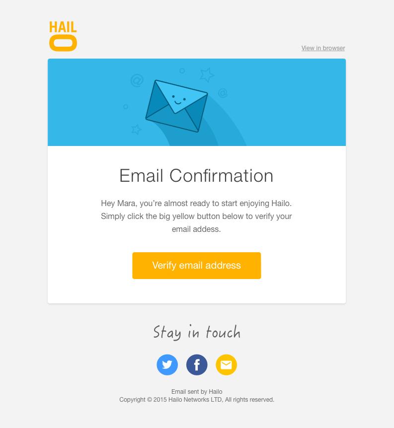 Hailo confirm email big | UI | Pinterest | More Email design ideas