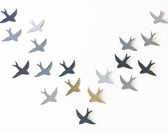 Extra large wall art Wall hanging original artwork sculpture 18 swallows Grey birds Gray & metallic gold Extra large art READY TO SHIP