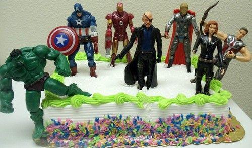 Avengers Birthday Cake Topper w Hulk Captain America Iron Man