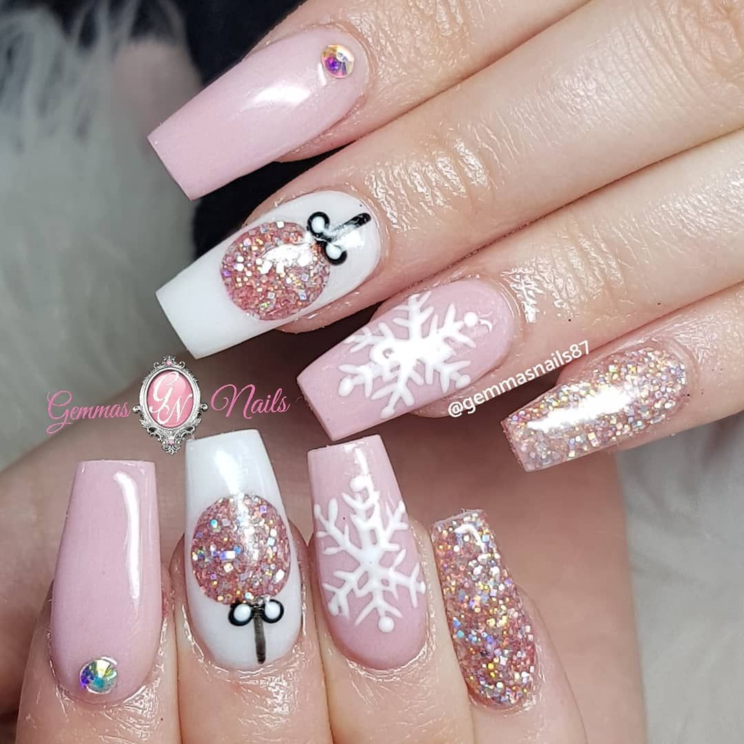 Pink and white Christmas nails