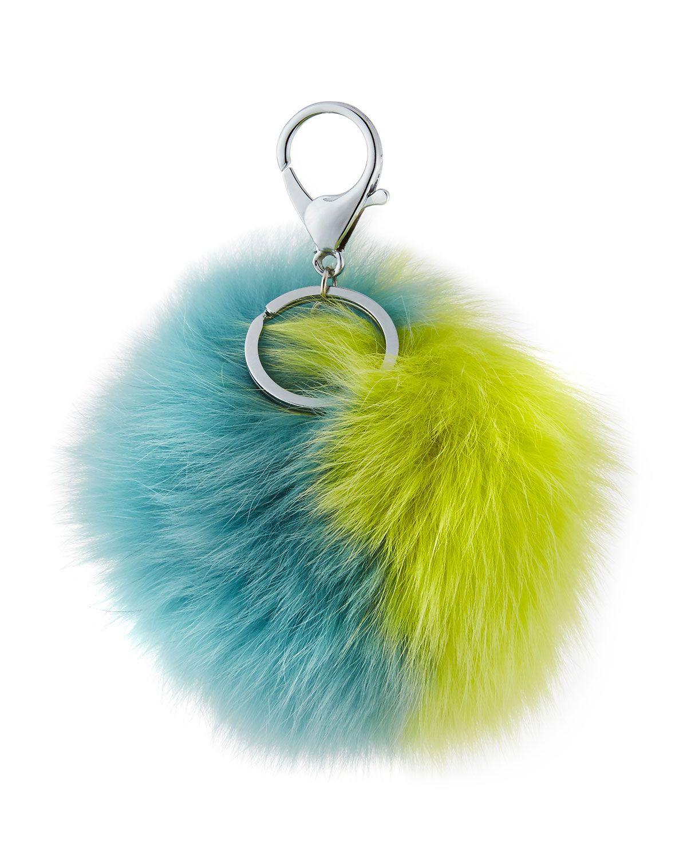 Two Tone Fox Fur Pompom/Charm for Handbag, Yellow/Blue by Adrienne Landau | Bergdorf Goodman