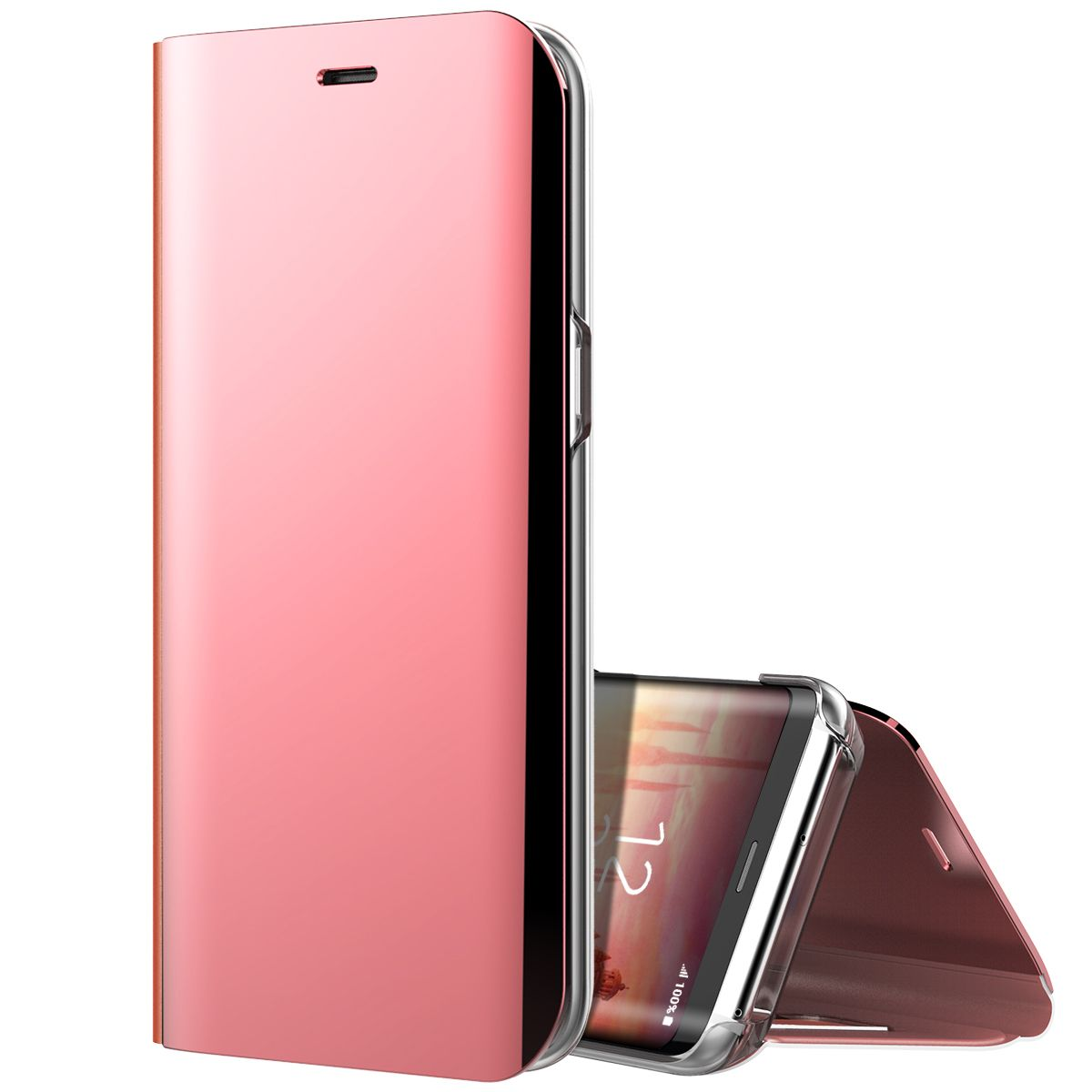 Luxury Business Flip Mirror Phone Cases For Samsung Galaxy S8 Nillkin Synthetic Fiber Case Plus Clear Solid Color