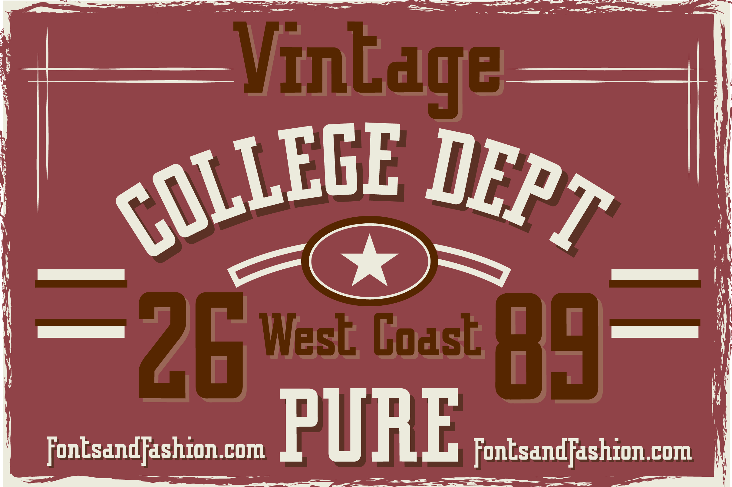 Vintage College Dept Pure Is A Clean Looking Slab Serif Font By University And High School Sportswear Letteri In 2020 Slab Serif Fonts Slab Serif Free Commercial Fonts
