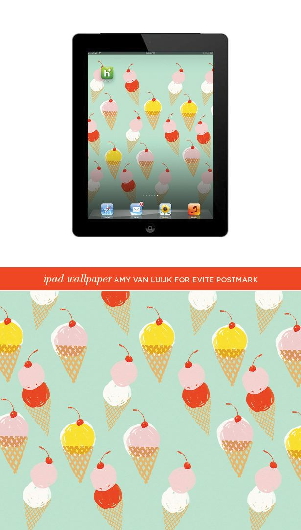 Ice Cream Pattern iPad Wallpaper by Amy Van Luijk for