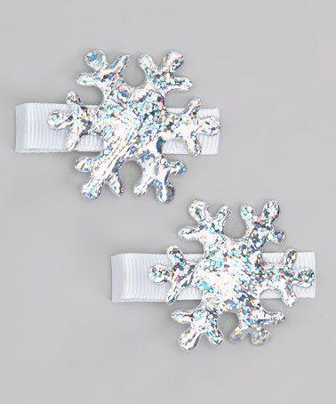 Look at this #zulilyfind! Silver Sparkle Snowflake Clip Set by Hair Flair #zulilyfinds