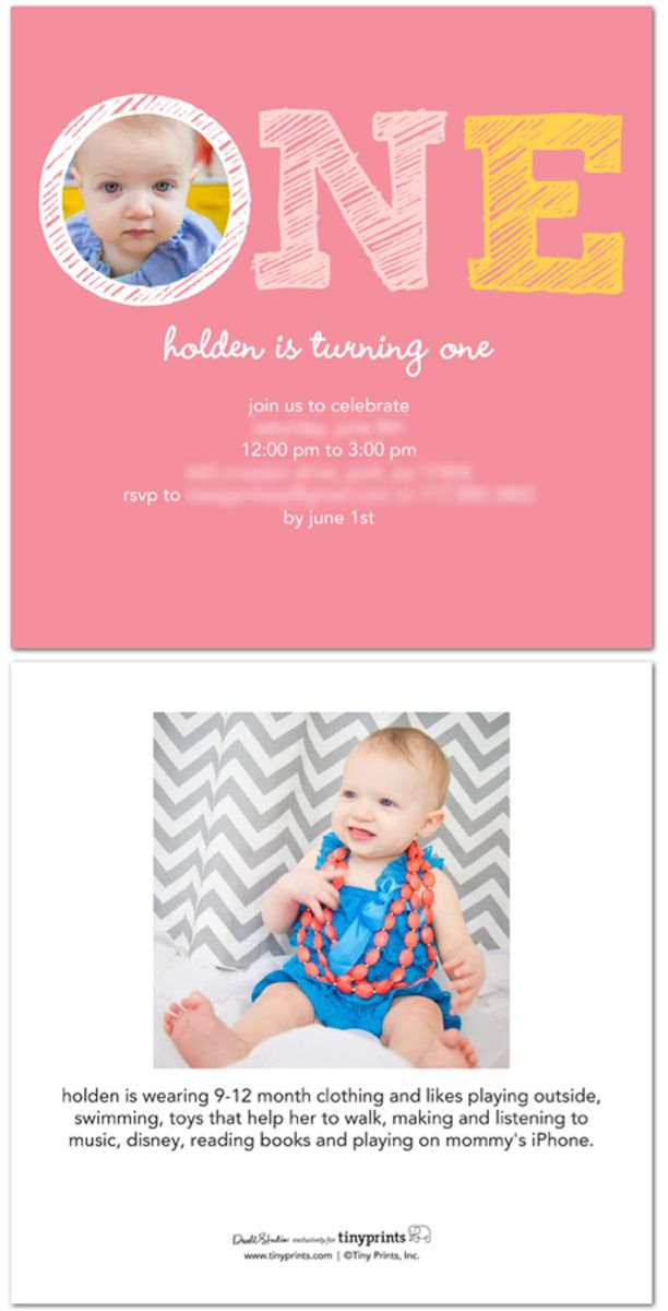 Girls First Birthday Party Invitation - including clothing size and ...
