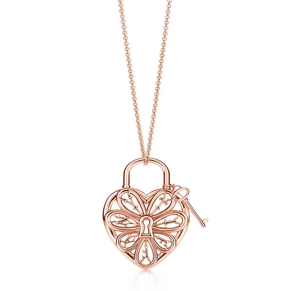 Tiffany filigree heartpendant with key pinterest tiffany tiffany filigree heart pendant with key in 18k rose gold large tiffany co aloadofball Image collections