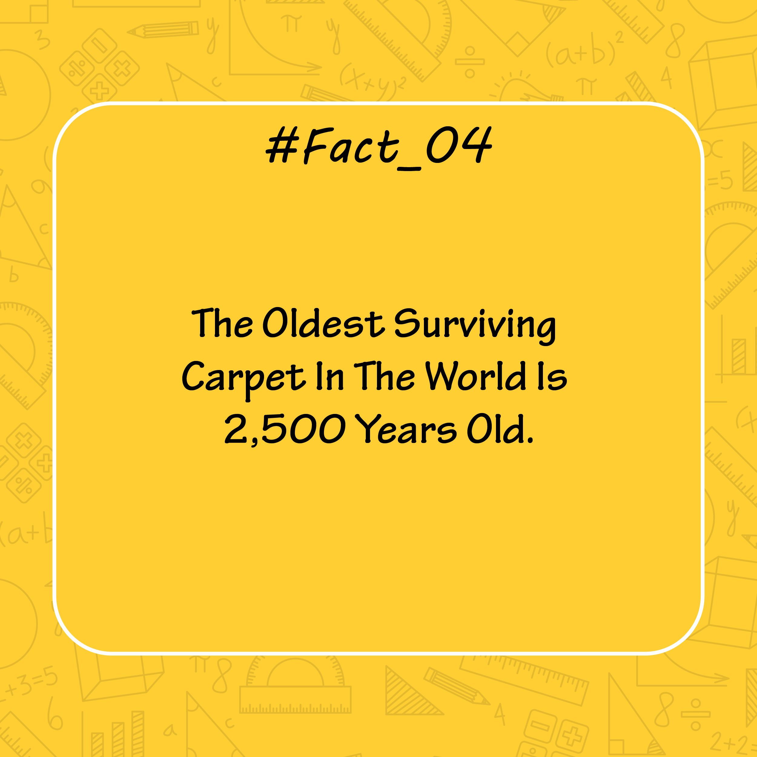Fact 04 The Oldest Surviving Carpet In The World Is 2 500 Years Old Facts Didyouknow Did Fashion Designing Institute Technology Fashion Learning Design