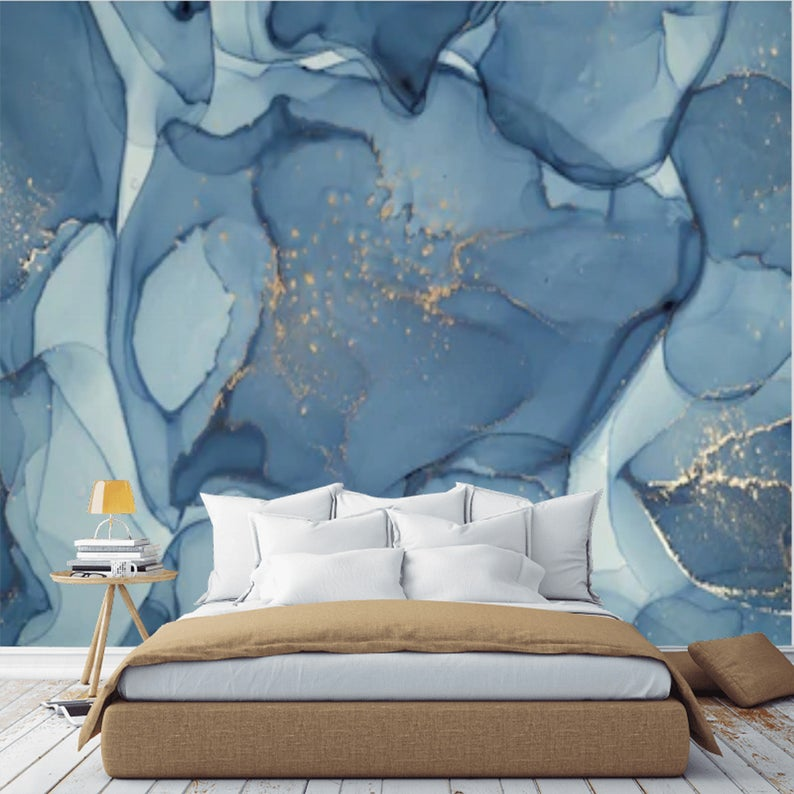 Peel And Stick Blue Abstract Wallpaper Mural Marble Self Etsy Wallpaper Decor Bedroom Master Bedroom Interior Design Accent Wall Bedroom