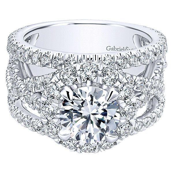 021c8dfe43d27 18K White Gold Vintage Trellis Stack Diamond Engagement Ring ...