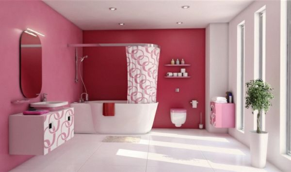 Pinke Wandfarbe U2013 Wie Können Sie Ihre Wände Kreativ Streichen?   Pinke  Wandfarbe Wandfestaltung Badezimmer