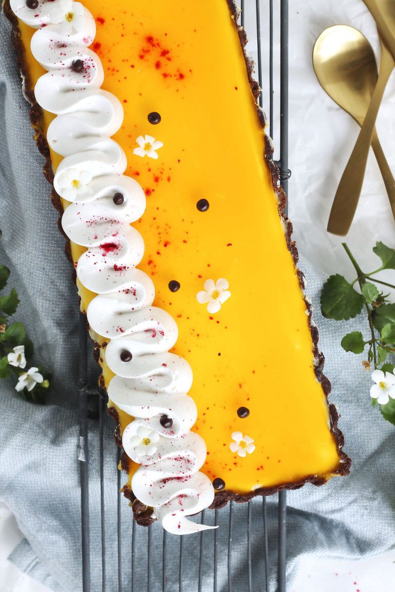Ostekagetærte med passionsfrugt – En Madblog