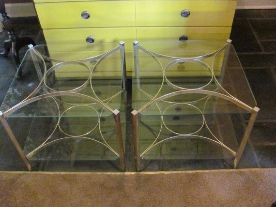 Hollywood Regency Modern Brass and Glass Bunching Cocktail Tables