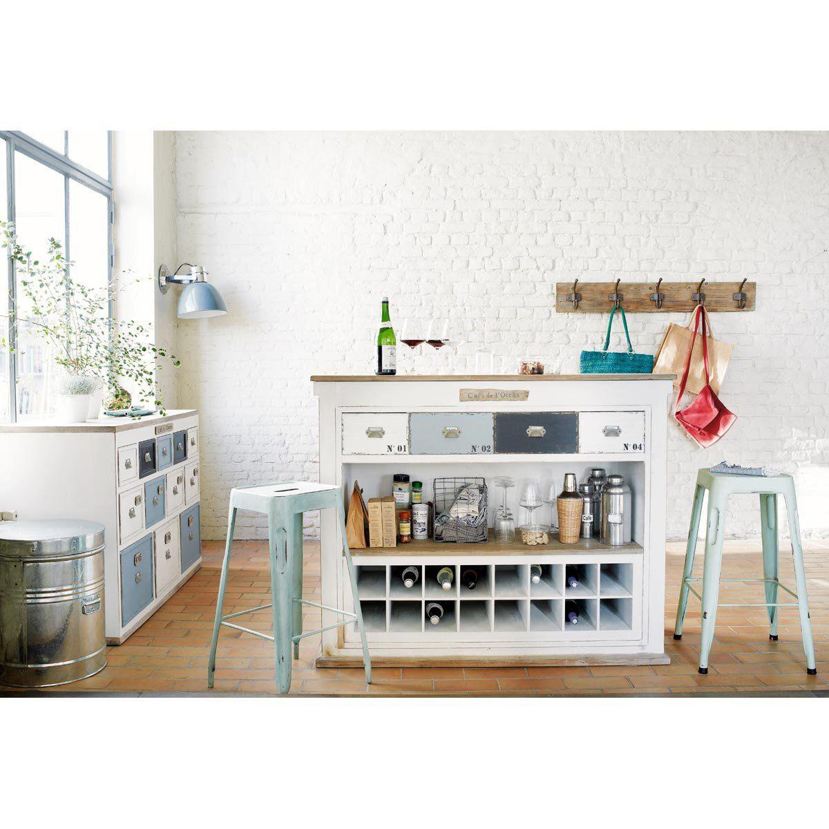 Mueble bar con cajones de madera blanca efecto envejecido for Muebles de efecto industrial