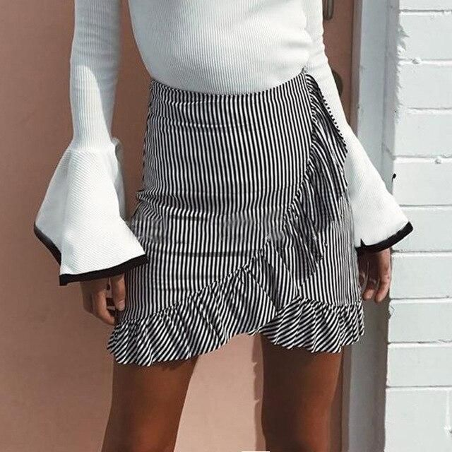 Sweat Women Skirt Stretch High Waist Skater Skirt Flared Ruffle Ple…