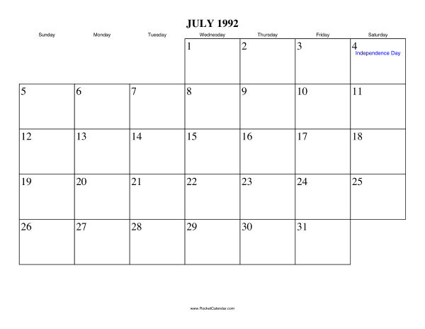 Free Printable Calendar For July 1992 View Online Or Print In Pdf