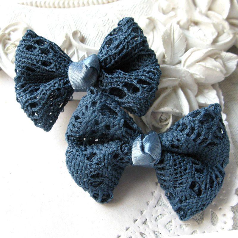 Noeud dentelle avec ruban satin bleu canard : Rubans par mes-produits-jolis