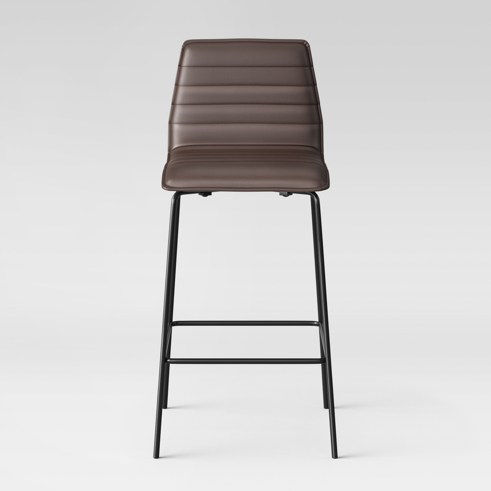 30 625 Quot Salk Modern Quilted Barstool Brown Faux Leather