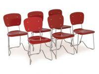 1950 körül Armin Wirth (svájci 1886-1969) terve alapján, Hans Stollinger and Sons által kivitelezett könnyű alumíniumvázas, összecsukható modern stílusú szék, ülés- és háttámláján piros lakozással. Az ülés felhajtható és a székek egymásra ...