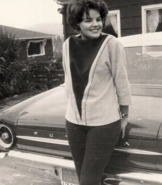Priscilla outside her army house. Germany, 1961
