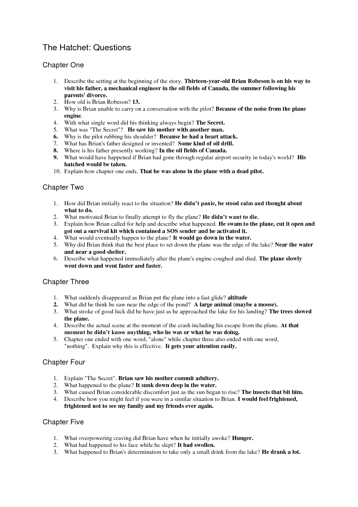 the hatchet question sheet answers questions pinterest rh pinterest com Low Pressure Boiler Glencoe Algebra 1 2014