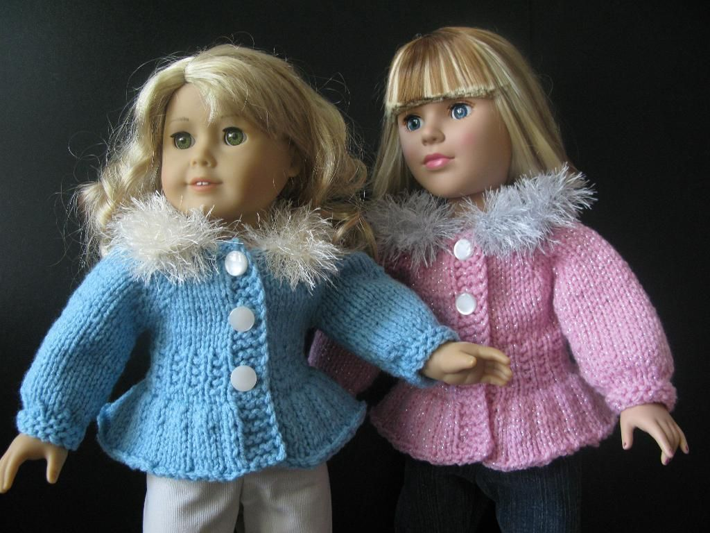 free knit 18 doll patterns | Knitting: Ice-Skater sweater Jacket for ...