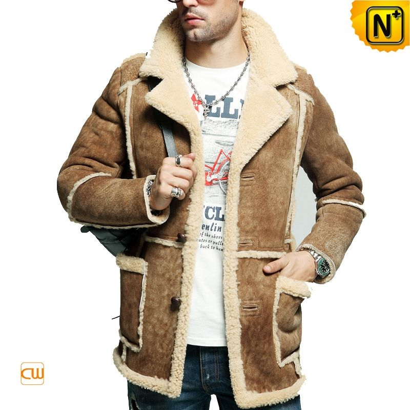 Earthy tones and understated rancher style sheepskin coat for men ...