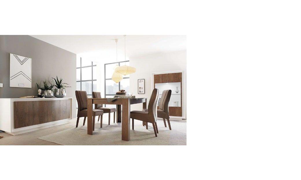 Salle a manger moderne blanc laqué mat et bois TACOMA | Salle a ...