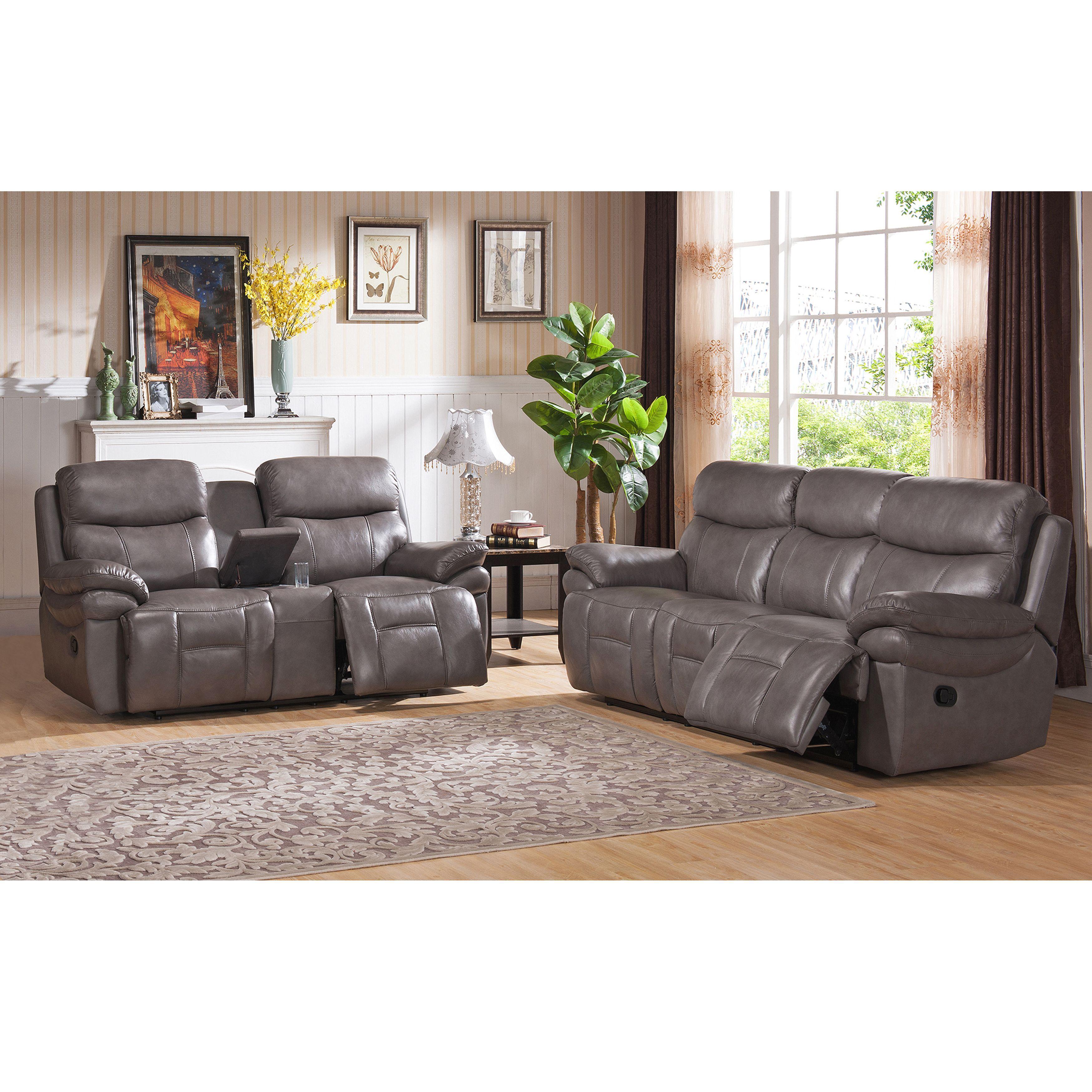 Argo Grey Premium Top Grain Leather Lay Flat Reclining Sofa And Loveseat  (Foam)