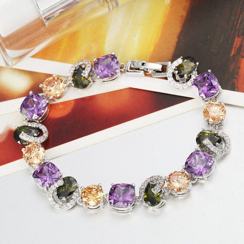 Platinum Plated Multicolored AAA Zircon Charm Bracelet