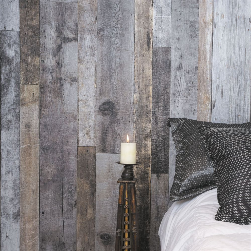 Shop Murdesign 1 X2f 4 In Sutton 4 Ft X 8 Ft Digital Grey Barn Wood Panel At Lowe 39 S Canada Find Our Selecti Wood Walls Bedroom Wood Panel Walls Barn Wood