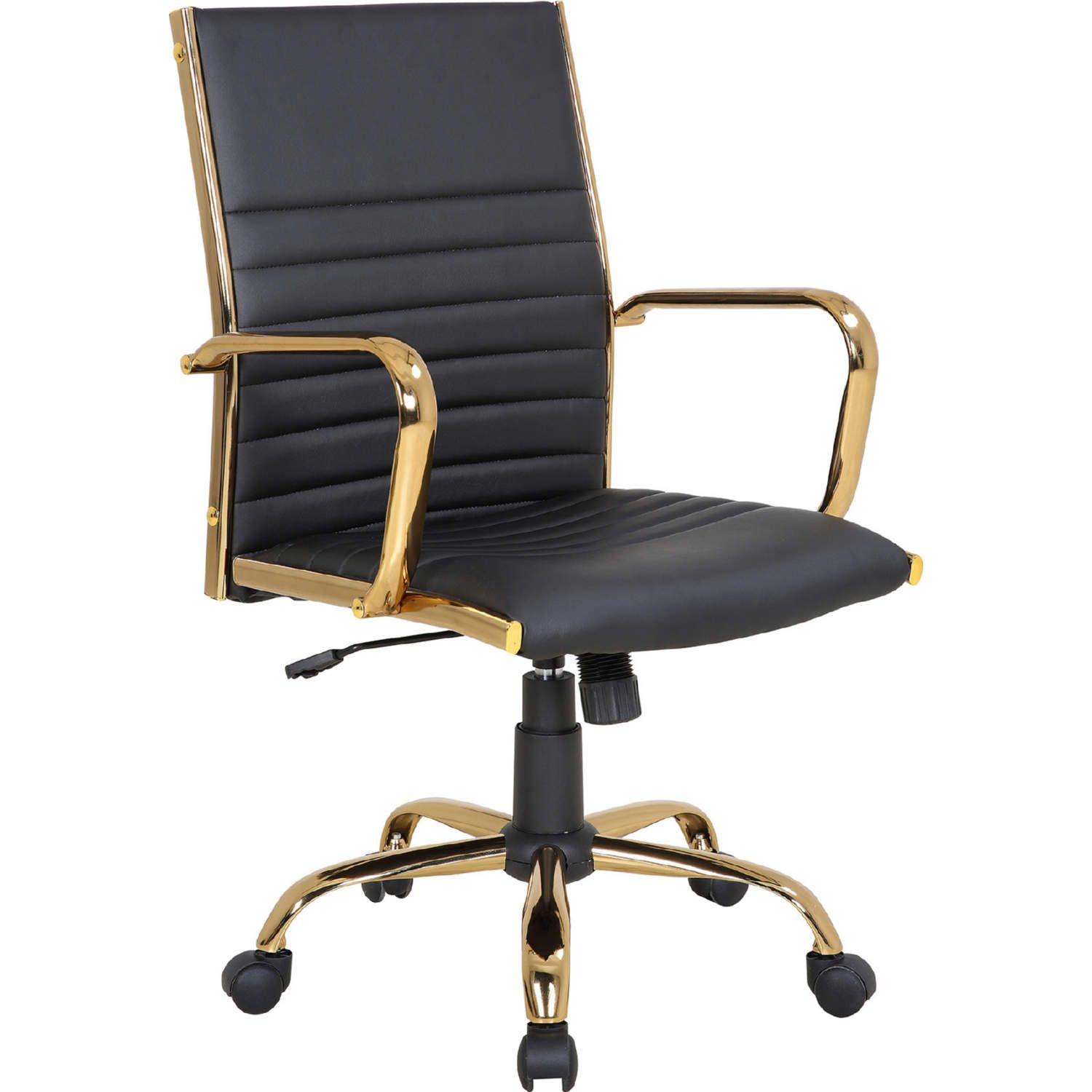 Lumisource Oc Mstr Au Bk Master Adjustable Swivel Office Chair Gold Metal Black Leatherette In 2020 Contemporary Office Chairs Black Office Chair Adjustable Office Chair