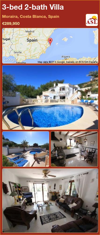 3-bed 2-bath Villa in Moraira, Costa Blanca, Spain ►€289,950 #PropertyForSaleInSpain
