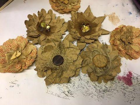 Upcycled Brown Paper Bag Flowers Paper Bag Flowers Brown Paper