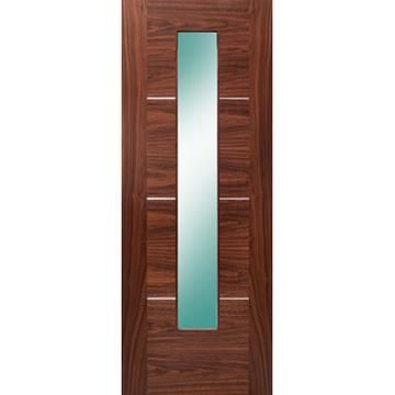 Verde Nova Walnut 1l Door With Clear Glass Is Pre Finished And 1 2 Hour Fire Rated Glazed Fire Doors Glass Clear Glass