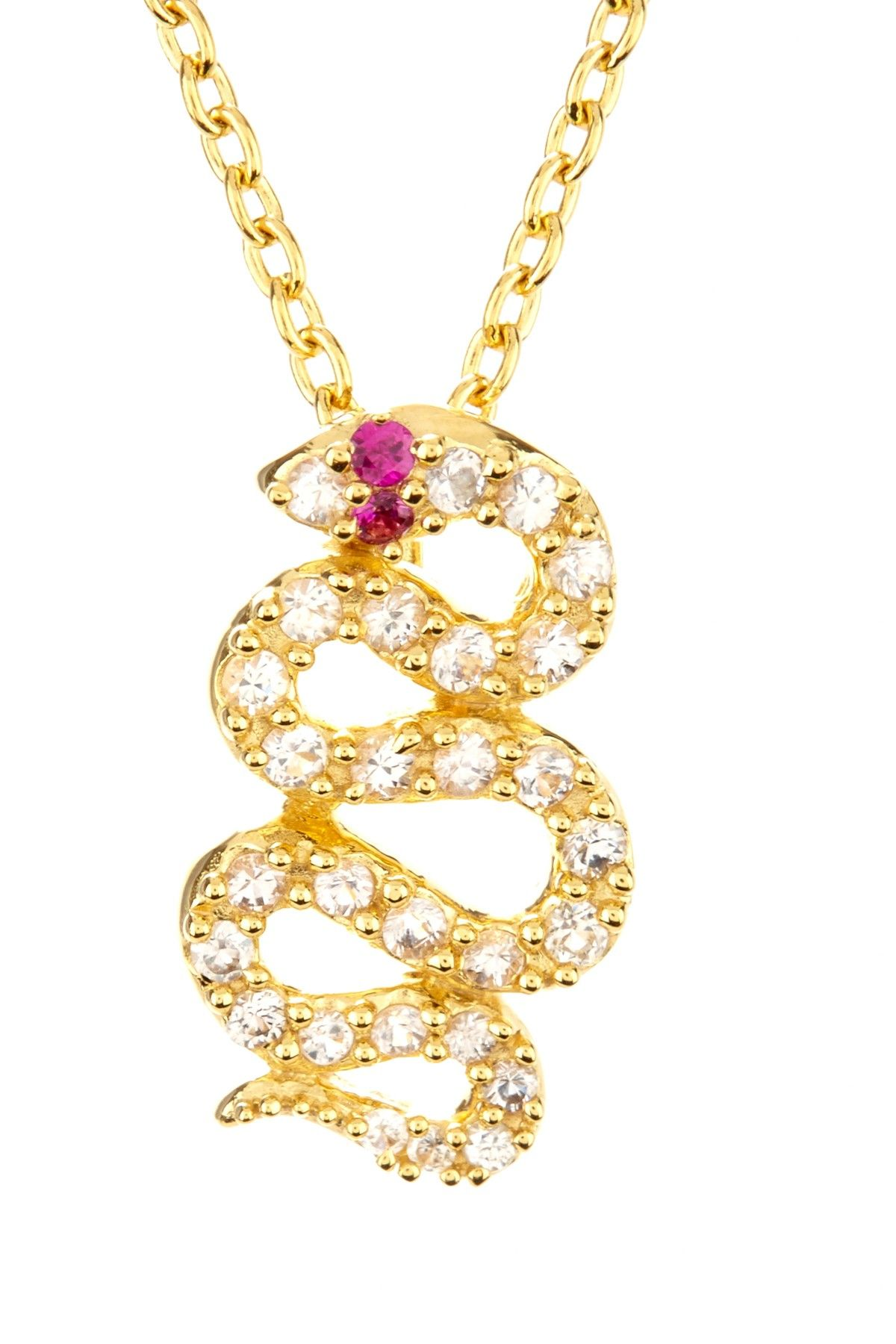 Elizabeth and James White Sapphire & Ruby Gold Snake Pendant Necklace on HauteLook