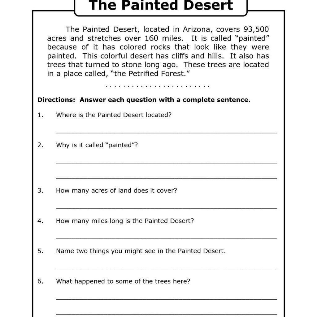 Free Printable Reading Worksheets For Grade 6 1 In