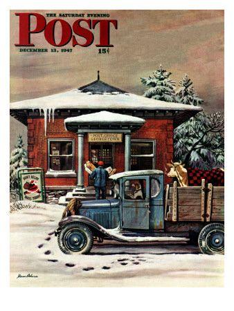 """Rural Post Office at Christmas,"" Saturday Evening Post Cover, December 13, 1947 Impressão giclée por Stevan Dohanos na AllPosters.com.br"