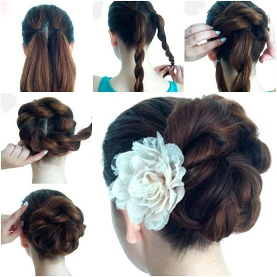 DIY Double Rope Braid Bun Hairstyle #braidedbuns